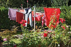 Abbildung: Wäschespinne im Garten